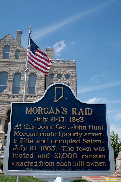 """Morgan's Raid<br /> Courthouse at Salem, IN<br /> <br /> """"In June 1863, the Confederate cavalry under John Hunt Morgan had departed Tennessee  on what would later became known as Morgan's Raid. Traveling through Tennessee and into Kentucky, Morgan eventually crossed into Indiana; he reached Salem on July 10, 1863, coming north from Corydon. Upon entering Salem at approximately 9 a.m., Morgan immediately took possession of the town and placed guards over the stores and streets. The cavalrymen burned the large, brick railroad depot, along with all the train cars on the track and the railroad bridges on each side of the town. Morgan demanded taxes from the two flour mills that belonged to DePauw and Knight, and from the Allen Wollen Mill. Morgan's men looted stores and took about $500 from the area before departing about 3 p.m.""""<br /> Source:  <a href=""""http://en.wikipedia.org/wiki/Salem"""">http://en.wikipedia.org/wiki/Salem</a>,_Indiana<br /> <br /> Historical Marker:<br /> <br /> <a href=""""http://www.in.gov/history/markers/348.htm"""">http://www.in.gov/history/markers/348.htm</a>"""