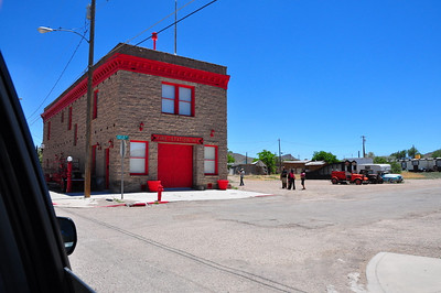 The fire station, interesting building, imagine a ladder truck comming out of that door. Goldfield, NV.