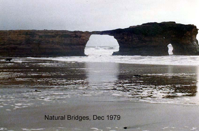 Natural Bridges State Beach, 1979<br /> Two weeks after my visit here, the bridge fell.