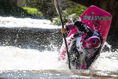 Emily Jackson gets vertical during the kayak freestyle qualifier at the International Bridge hole in Vail on Thursday.  Jackson will be advancing to the semi-finals taking place at 12:30 p.m. tomorrow.