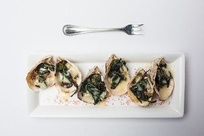 Oysters Rockefeller | kusshi oysters, spinach & smoked bacon stuffing with lemon butter half dozen