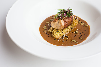 Organic iowa rabbit loin |  Air-dried ham, spagetti squash, Mole jus