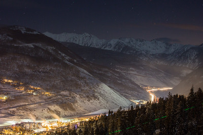 A long exposure shows a steady stream of traffic through the Vail Valley on Saturday Evening.