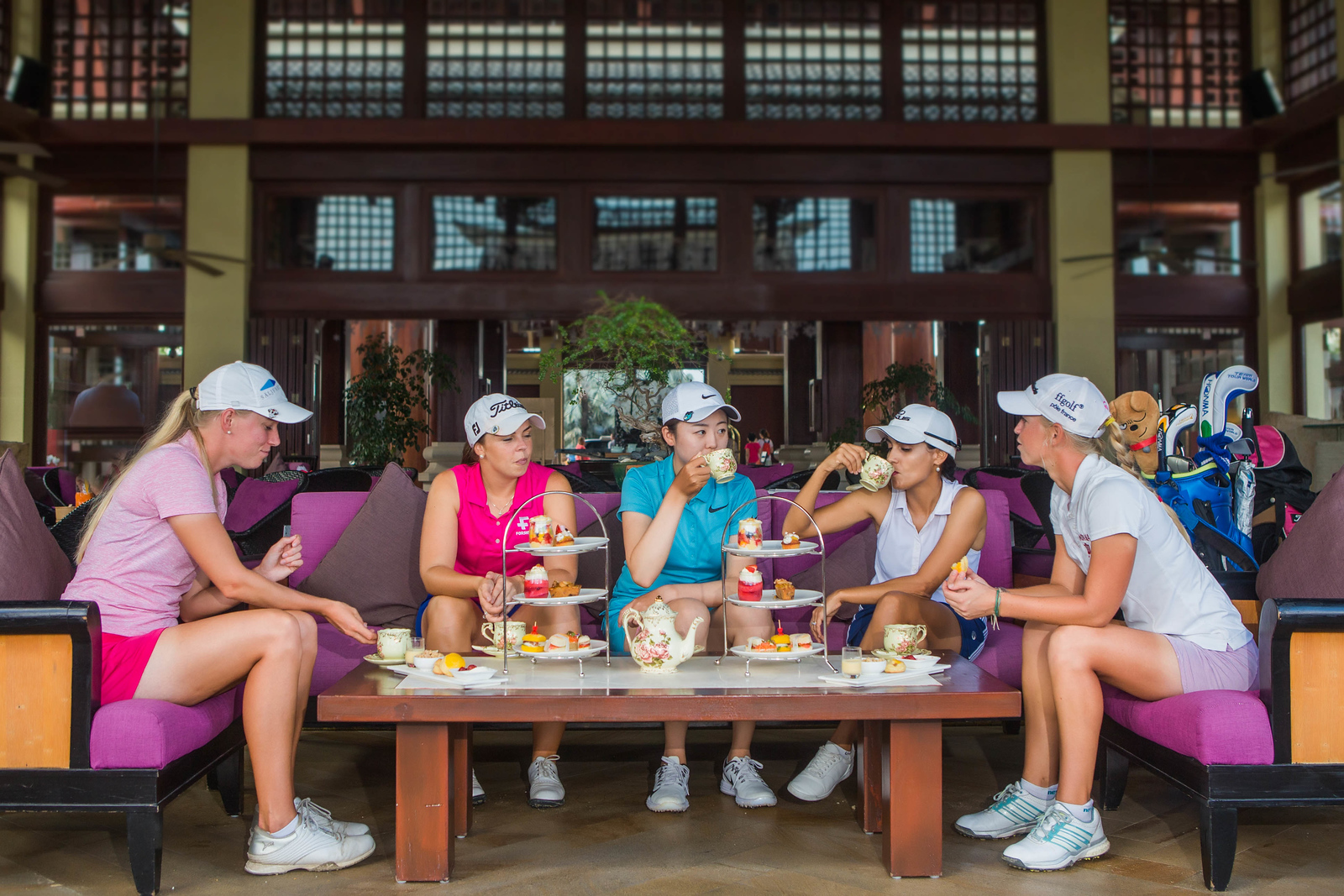 Simin Feng, Emma Nilsson, Camille Chevalier, Victoria Lovelady and Valdis Thora Jonsdottir,  at the Ritz Carlton Yalong Bay in Sanya, China