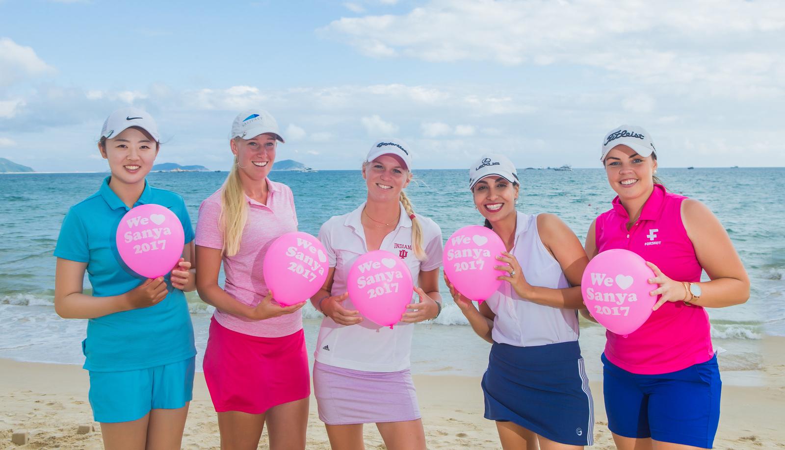 Simin Feng, Emma Nilsson, Camille Chevalier, Victoria Lovelady and Valdis Thora Jonsdottir,  at the Ritz Carlton Yalong Bay in Sanya, China