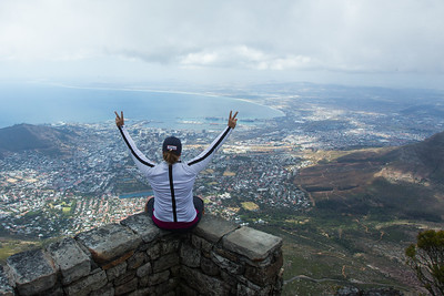 Valdis Jonsdottir of Iceland on top of Table Mountain
