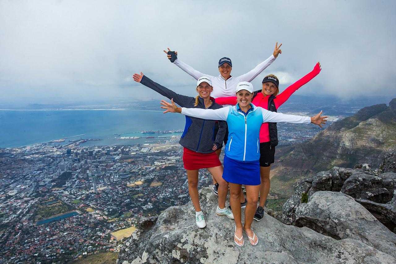 Camille Chevalier, Valdis Johnsdottir, Lejean Lewthwaite and Carly Booth on Table Mountain