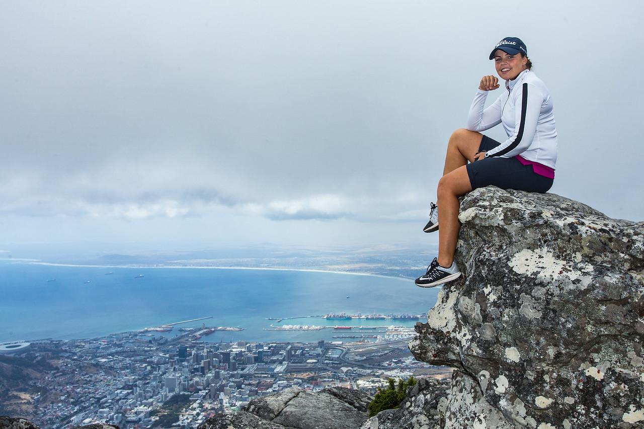 Valdis Jonsdottir of Iceland on top of Table Mountain