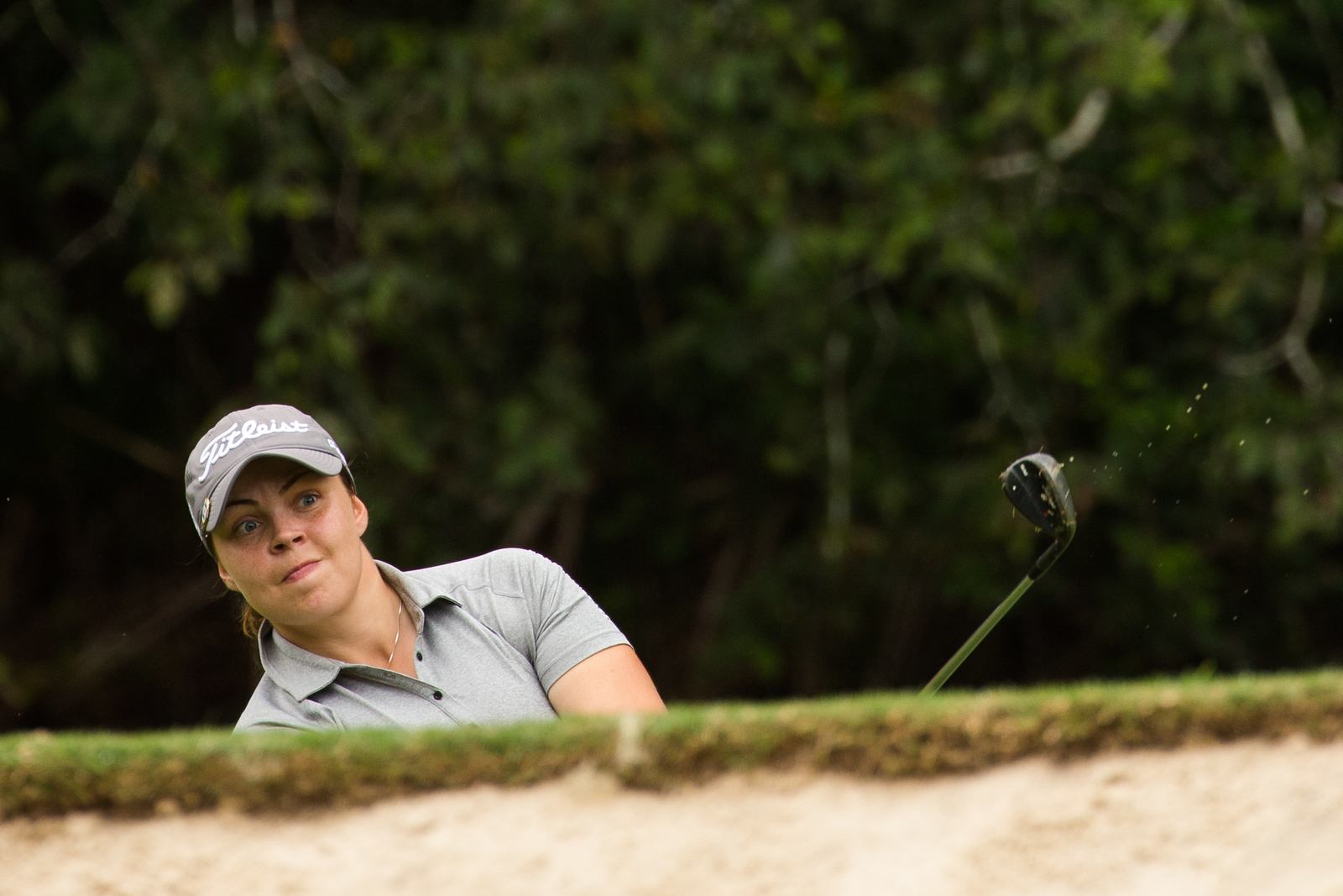 Valdis Jonsdottir of Iceland lines up a birdie chance on the 8th hole during the second round