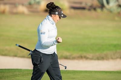 Valdis Thora Jonsdottir of Iceland celebrates a birdie on the second hole during the second round