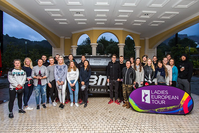 LET members at the Rookie Training week pose for a photograph with members of the BMC Switzerland racing team who have a training camp at La Sella. The team includes Bejing Olympic Champion Samuel Sanchez, back left.