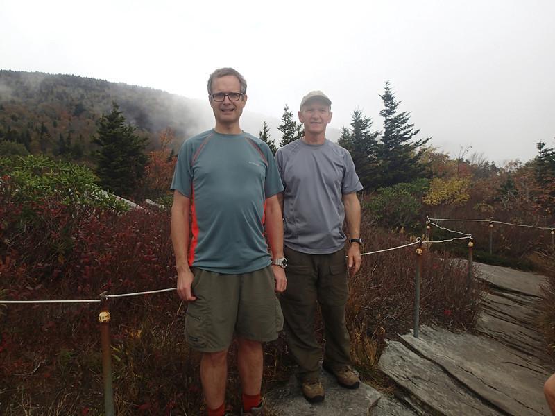 Vance and friend Larry Sumner hiking on Tanawa Trail, near Glenn Cove viaduct, NC 2013.