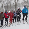 Vance with WSSOC skiers on a snowy day at Sugar Mountain, NC, 2014.