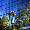 Reflection of the Seattle Space Needle.