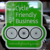 A Cycle Friendly Business sign in a shop in in Benalla, Victoria in October 2013