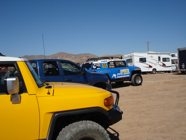 Early morning Friday which was RACE DAY. Our blue race FJ and the two chase support vehicles linning up in the start pit, which was about 1 hour from Las Vegas.