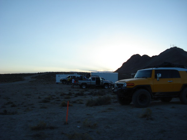 Pic showing the track leading into the pit 4 area and the support FJ.  Unfortunately I was too busy with support tasks to take pictures during the pit stop. The race FJ took off before I could grab the camera.  Nightime was falling quickly and I had many pits ahead. So off to pit 5