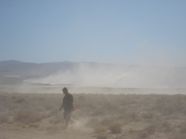 The dust arrives as the Racers arrive in PIT 2.  To much to do to take pictures of our race FJ