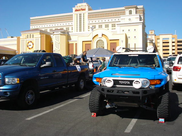 The casino was hosting the race  and the inspections stage.  So we used this time to prep the FJ for inspections.