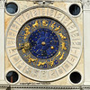 St Mark's old clocktower to be seen by ships in the harbour of Venice, Italy. The dial shows the precise time, phase of the moon, and dominant sign of the zodiac
