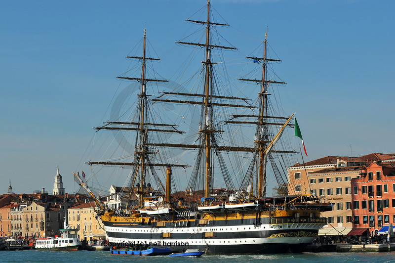 VENICE, ITALY - OCTOBER 20: The tall ship the Amerigo Vespucci docked in Venice:  October 20, 2010 in Venice Italy