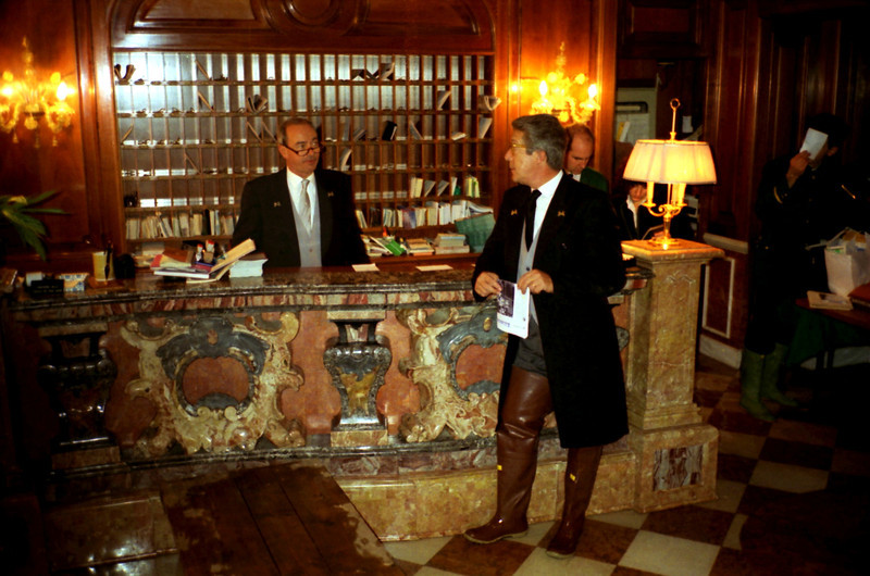 "Concierge Desk. The Gritti. Note the boots due to ""Acqua alta"". The water comes right into the lobby."