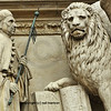 Detail of the Doge of Venice kneeling in front of the winged lion, representing Saint Mark