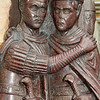 Detail of the two right most Tetrarchs, augustus and caesar. In porphyryr granite on St Mark's Basilica, Venice
