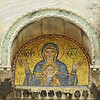 Byzantine mosaic of the virgin mary with baby Jesus on the walls of the Basilica of St Mark in Venice, Italy