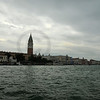 Storm clouds over Venice and the lagoon. Doge's Palace and the bell tower.