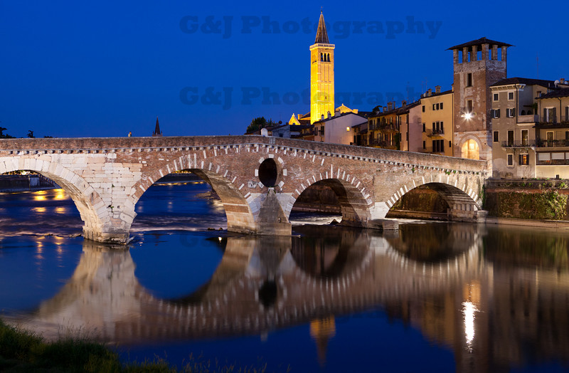 Ponte Pietra, Verona, Italy 4<br /> The Stone Bridge is located in one of the most panoramic and suggestive sites in Verona. Regardless of the vicissitudes and reconstructions the bridge has undergone, it remains one of the most important monuments of Roman Verona. It is legitimate to date the bridge prior to 89 B.C. – the year when Verona became a Latin colony – an initial bridge across the Adige, perhaps in wood, may have been built in this site following the construction of the Postumia Road, which ran from Genoa to Aquileia, in 148 B.C. When the Adige was in spate, or through the intervention of man, the bridge collapsed in 1007, 1153 and 1232 and 1239.<br /> In 1503 the bridge was rebuilt in stone, but collapsed and was rebuilt in wood. In 1508 the City Council asked the Architect Fra' Giocondo to superintend the construction of the Roman bridge. On 25 April 1945 the bridge was mined by the retreating Germans and was blown up. Only the first arch on the right bank remained standing. In 1957 the first stone was laid for the reconstruction of the arches destroyed and finally, on 7 March 1959, the bridge was inaugurated, to crown an extremely faithful reconstruction. <br /> The bridge blown up by the Germans had five arches of different sizes: the two towards the left bank of the Adige were Roman and built of stone; of the other three, the one closest to the right bank was still the one built in 1298, while the other two had been rebuilt in 1520. <br /> In the Roman part there were apertures similar to elongated windows. A round hole was located above the third piling, in the middle of the bridge. <br /> The Stone Bridge can be considered a programme of constructions from different époques.<br /> <br /> <br /> Please feel free to rate the pictures you see....