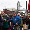 BUCKSPORT, MAINE -- 12/17/2014 -- Verso Paper mill workers leave the mill one last time Wednesday in Bucksport. Bucksport officials and residents organized a rally for workers of the Verso mill. Wednesday marked the last shift at the 84-year old mill. Ashley L. Conti | BDN