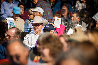 Jack Bacon sits in the crowd at the Veteran's day ceremony.