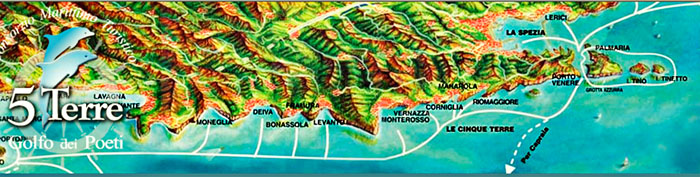 Here is the map showing how we start in Porto Venere (on the right), move on to Riomaggiore to pick up people, then Vernazza, Monterosso, Levanto, Bonassola, Deiva, Moneglia, and off to round the point of Portofino toward S. Fruttuoso and back for 2.5 hours in Portofino...and bach home.