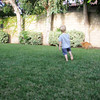 Nolan shooting cannonballs in the yard