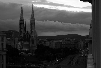 From our balcony before a big storm.  Votive Church.