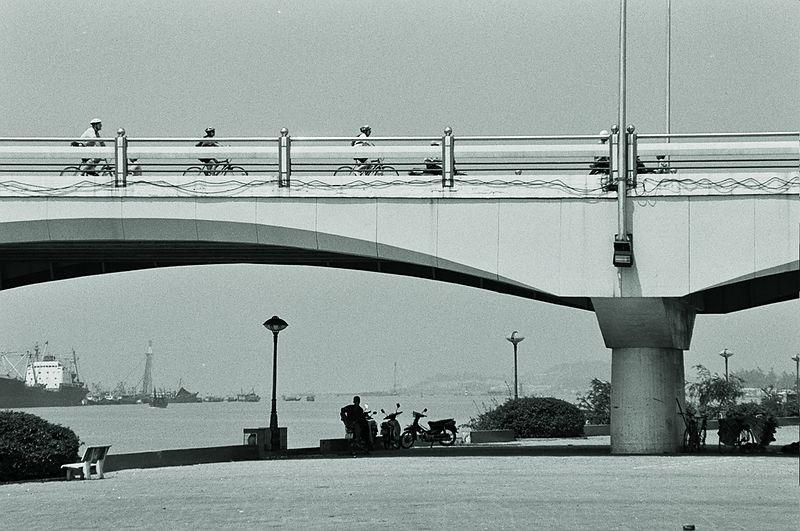 bikers on bridge
