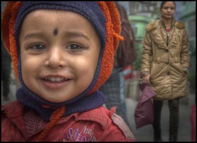 Child on the M G Marg, Gangtok, Sikkim, India.