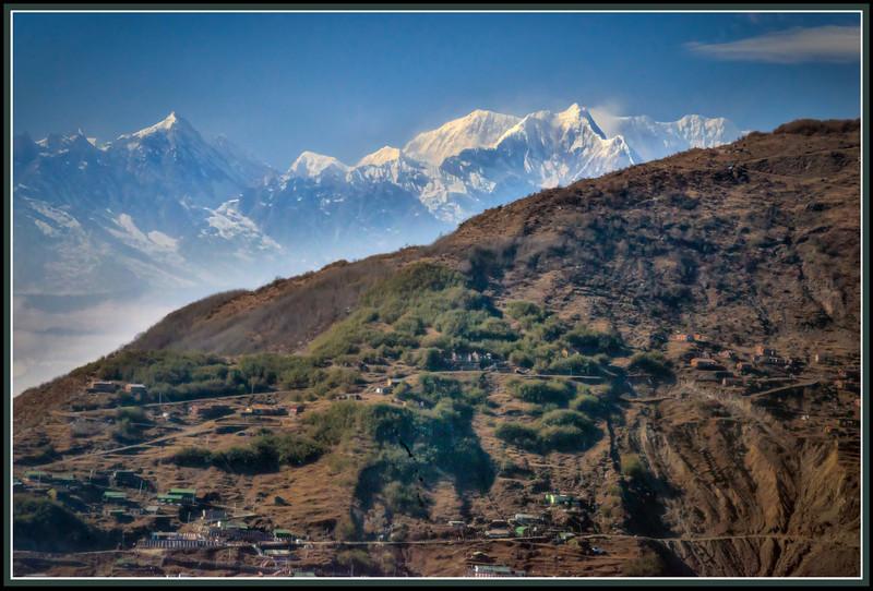 Mt. Kangchenjunga, the World's Third Highest Mountain, along the Road to Changu (Tsomgo) Lake, Sikkim, India.
