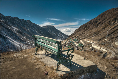 Bench with a View, on the Road between Gangtok, India and the India/Tibet Border at Nathu La Pass.