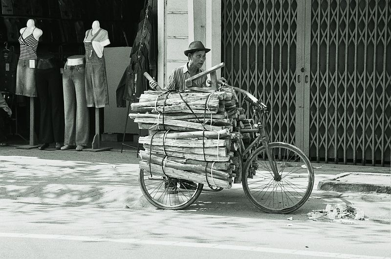 bike with wood