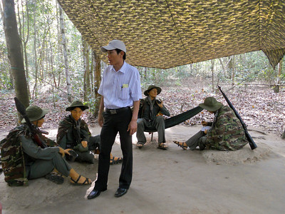 Our guide at the Cu Chi tunnels gives us an insight into life for the Viet Cong.