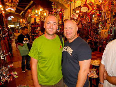 Having a wander through Ban Thanh market, James and Darren inadvertently pose like a couple!