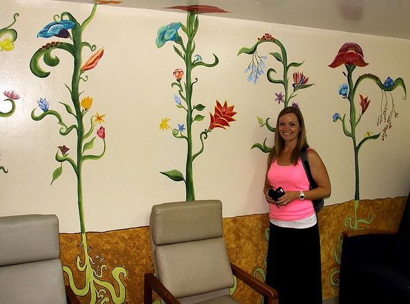 Mural at Moore Pediatric Surgical Center plus Amy!