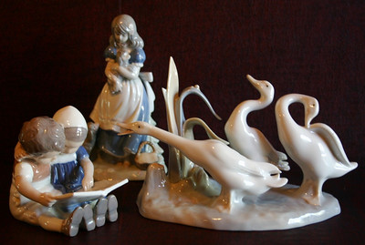 B&G on left, Fauxdro in center, Lladro on right