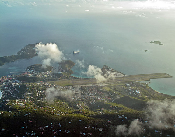 Two aerial pictures, flying over St. Thomas, USVI.