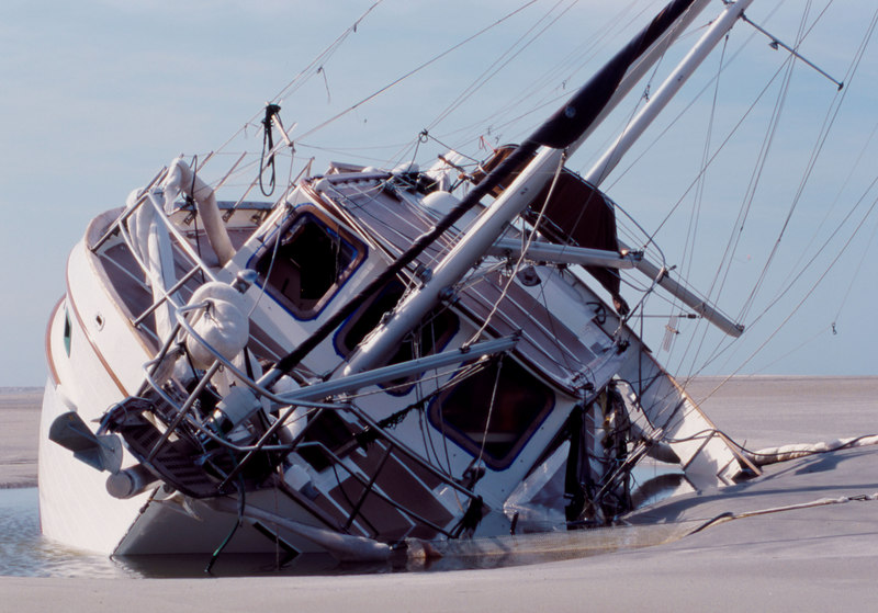 Wreckage and Salvage of the grounded sailing vessel on the sandbar at St. Catherine's Sound, Georgia<br /> TowBoatUS Brunswick