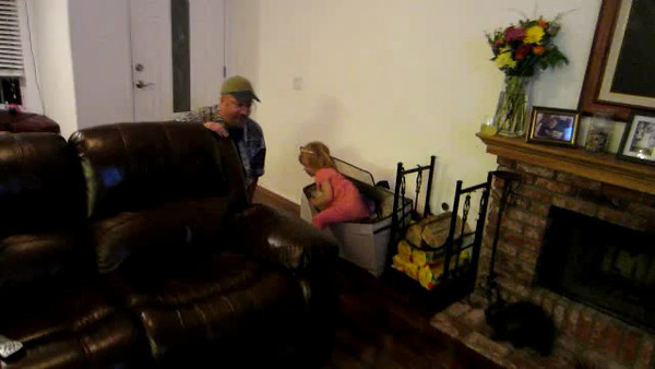 "Ashley plays ""Hide and Seek"" with her new friend ""Builder"""
