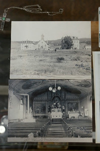 The exterior and interior of St. Paul's church.  Undated picture, so it's unclear which iteration of the often-burned and reconstructed church this is.
