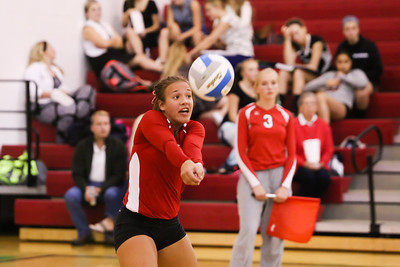 Ken Kadwell/@KenKadwell - Special to the Sun Sacred Heart's Katelyn Eidenberger (6) digs a kill against Houghton Lake at Sacred Heart, Sept. 15, 2014.  Final 3-0 Sacred Heart.